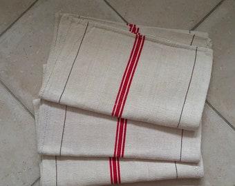 NS1921 Natural Limestone Red Stripe Vintage Linen Grainsack