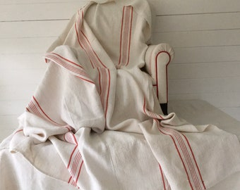 Red Stripe Cart Cover Linen for Upholstery Sewing Projects Bed Spread Vintage Fabric Handmade Linen CC2005