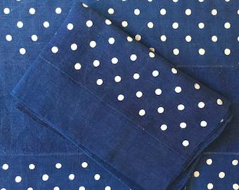 Large Indigo Blue Dyed Polka Dot and Plain Hungarian Vintage Tablecloth