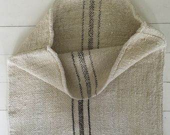 Grey Brown Stripe on Sand Stone Natural Vintage Linen Grainsack Sewing Projects Upholstery Bath Mat or Laundry Bag NS2102 Washed ready to Go