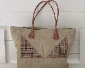 Upcycled Tartan Decor Handbag