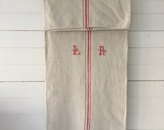 Red Stripes Monogrammed 'LR' Linen Vintage Grain Sack Stone Upholstery Bench Seat Cushions Bathroom Mat      NS2142 Washed and ready to Go