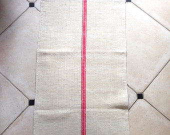 ETSY 11 Twill Red Stripe Linen Grainsack Natural Sandstone Vintage  Fabric Striped Sewing Projects Upholstery Bath Mat or Laundry Bag