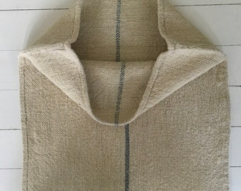 Grey Stripe on Sand Stone Natural Vintage Linen Grainsack Sewing Projects Upholstery Bath Mat or Laundry Bag NS2110 Washed ready to Go