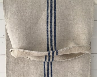 Royal Blue Stripes Grey Stone Vintage Linen Grainsack Sewing Projects Upholstery Bath Mat or Laundry Bag NS2016 Washed and ready to Go