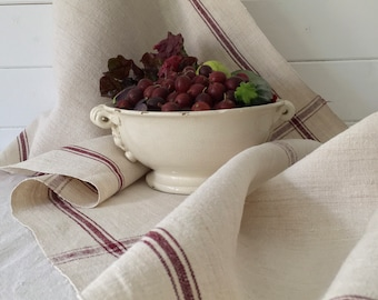 Natural Limestone and Chestnut/Maroon Stripe Vintage Linen Table Runner Upholstery Fabric Chairs Sewing Projects NLR2013
