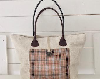 Upcycled Tartan Pocket Handbag