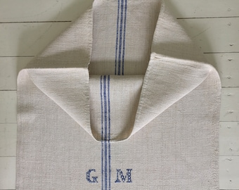 Blue Stripes Monogrammed 'GM' Linen Vintage Grain Sack Off White Upholstery Bench Seat Cushions Bath Mat NS2150 Washed and ready to Go