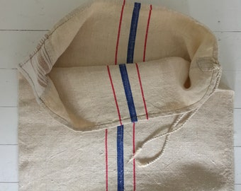 Red and Blue Stripe Natural Vintage Linen Grain Sack Fabric Sewing Project Upholstery Bath Mat or Laundry Bag Washed and ready to Go NS2135a