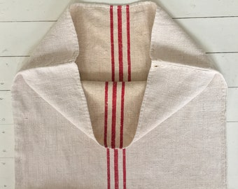 Natural Limestone Red Stripe Vintage Linen Grainsack Fabric Striped Sewing Projects Upholstery Bath Mat or Laundry Bag Table Runner NS2019