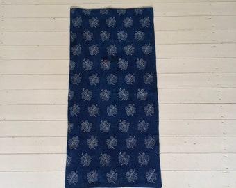 DNS2002 Indigo Blue Traditionally Dyed by Hand Grape Leaf Design Grain Sack Monogram GM Handspun and Homespun pre 1940