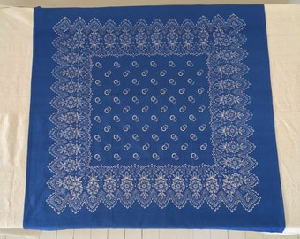 Hand Blocked and Hand Blue Dyed Fine Cotton Tablecloth using Traditional Techniques and Tools, with a Floral Design