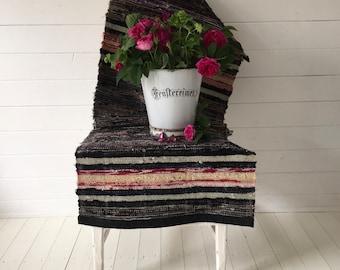 Vintage Swedish Rag Rug  Black Grey Red and Natural Pastels Stripes Hand-made Rag Rug Runner Upcycled RR2010