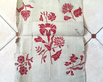 Botanical Flowers Red & Beige off white Original 19th Century Handpainted Textile French Art Design Embroidery Design Paper Anniversary Gift