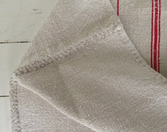 Natural Limestone Bright Red Stripe Vintage Linen Grainsack Fabric Upholstery Bath Mat or Laundry Bag Table Runner NS2017