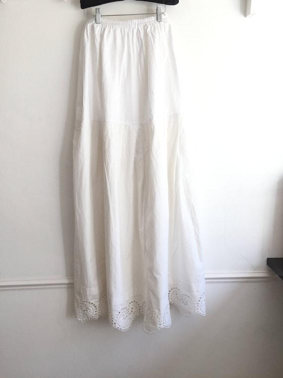 Long Natural Cotton Petticoat Circle Skirt Vintag… - image 5