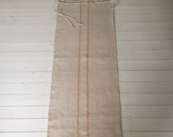 Gold/Ginger Stripe Natural Vintage Linen Grainsack Fabric Striped Sewing Projects Upholstery Bath Mat or Laundry Bag  Washed and ready to Go
