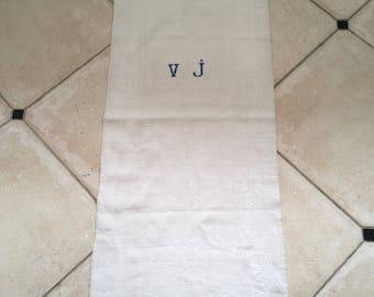 NS1351 Monogrammed 'VJ' Natural Limestone Vintage Linen Grainsack