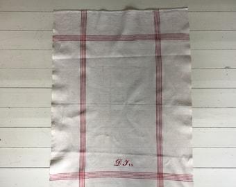 Red Monogrammed  'DJ'?? Tea Towel Limestone Vintage Linen Fabric