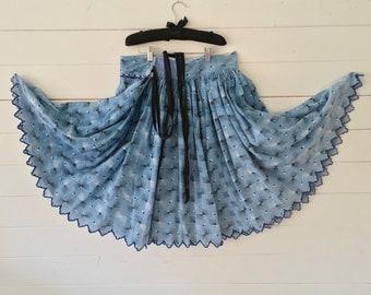 Faded Blue Black and White 50s Circular Skirt Vintage Hungarian Folk Hand Sewn Scalloped Hem Summer Festival Dancing SKT2107