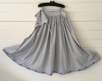Faded Blue and White Check Cotton  Skirt Vintage Hungarian Folk Hand Sewn Scalloped Hem Summer Festival Dancing SKT2106