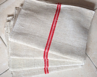 Cadmium Red with White Stripe Natural Sandstone Vintage Grain Sack Bath Mat Blinds Upholstery Projects Washed and ready To Go Etsy 12