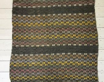 RR1833 Hungarian Hand Spun Vintage Natural Hemp Runner Grey Yellow Pink Stripey Rag Rug Runner Upcycled Floor European Interior Antique