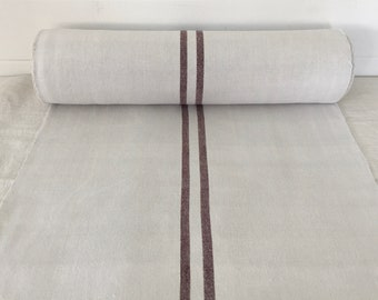 Brown Striped Linen for Tables Upholstery Projects Vintage Fabric Handmade Linen - By The Metre