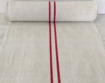 Red Stripe Twill Natural Cotton Linen Sandstone Vintage Linen  Fabric Striped Sewing Projects Upholstery Table Runner Laundry Bag