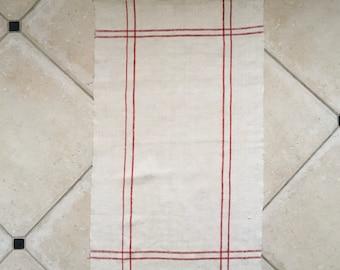 Red Stripe Tea Towel Linen Vintage Fabric Handmade Linen NTT 2004