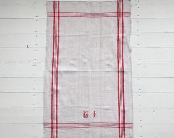 NTT1901 Red Stripe Tea Towel Linen for with 'BI' Monogram Vintage Fabric Handmade Linen
