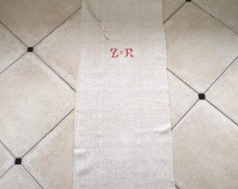NS1857 Monogrammed 'ZR'  Natural Limestone Vintage Linen Grainsack