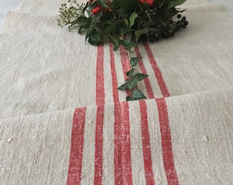Red Stripes Fine Natural Cream Vintage Linen per Metre Table Runner Sewing Projects Upholstery Blinds Chairs  Washed and ready to Go NLR2025