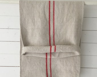 Red Pink Stripe Vintage Off White Linen Grainsack Sewing Projects Upholstery Bath Mat Cushions Table Runner NS2128 Washed and ready to Go