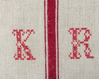 Red Monogrammed 'KR' Natural Limestone Vintage Linen Grainsack Fabric Striped  Sewing Projects Upholstery Bath Mat or Laundry Bag