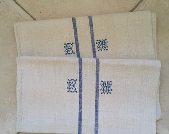 NS1820 Monogrammed 'EM' Natural Limestone Vintage Linen Grainsack Fabric Blue Striped Sewing Projects Upholstery Bath Mat or Laundry Bag
