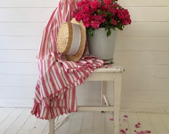 Pink and White Candy Stripe Full Length Skirt Vintage Hungarian Folk Hand Sewn Pink Scalloped Hem Summer Festival Dancing SKT2111