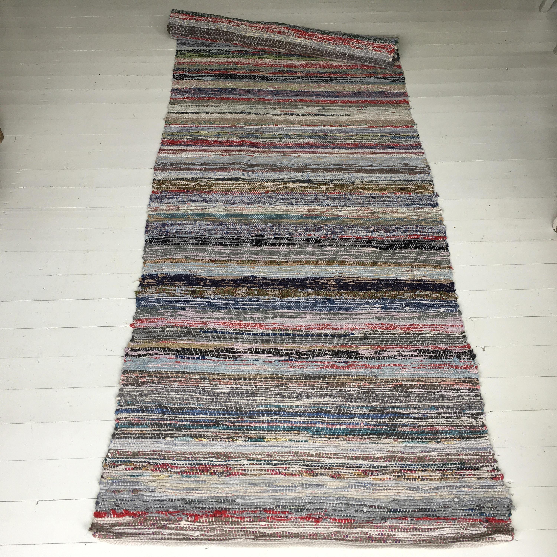RR1701 Vintage Swedish Rag Rug Multi Colored