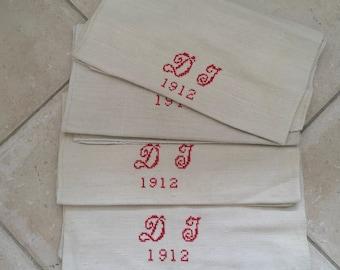 Monogrammed 'DJ' Natural Limestone Vintage Linen