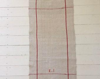 NTT2020 Red Stripe Linen Tea Towel  with 'KI' Monogram Vintage Fabric Handmade Hand-spun Home-spun