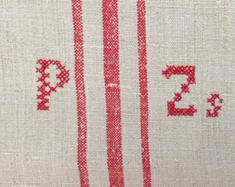 NS1401 Red Monogrammed 'PZs' Natural Limestone Vintage Linen Grainsack Fabric Striped Sewing Projects Upholstery Bath Mat or Laundry Bag