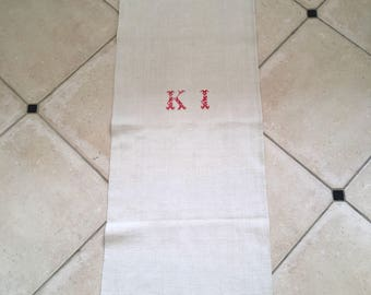 Monogrammed 'KI' Natural Limestone Vintage Linen Grainsack