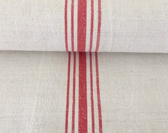 Red Stripe Twill Natural Sandstone Vintage Cotton/Linen Grainsack Fabric Striped  Sewing Projects Upholstery Bath Mat or Laundry Bag