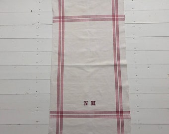 NTT1903 Maroon Stripe Tea Towel Linen for with 'NM' Monogram