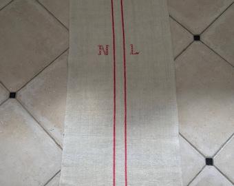 NS1780 Monogrammed 'NL' Natural Limestone Vintage Linen Grainsack