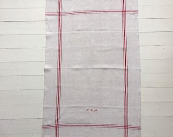 NTT1908 Red Stripe Tea towel Linen for with 'JZM' Monogram