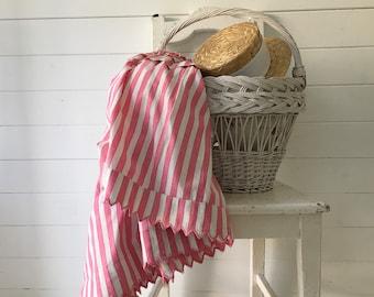 Pink and White Candy Stripe Cotton 50s Circular Skirt Vintage Hungarian Folk Hand Sewn Scalloped Hem Summer Festival Dancing SKT2108