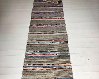 Vintage Swedish Rag Rug in Colored Patterned Stripey Bands