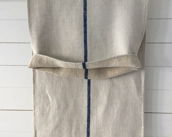 Navy Blue Stripe Grey Stone Vintage Linen Grainsack Sewing Projects Upholstery Bath Mat or Laundry Bag         NS2143 Washed and ready to Go
