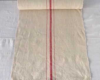 NLR1840 Sandy Cream Red Striped Linen Fabric One Piece